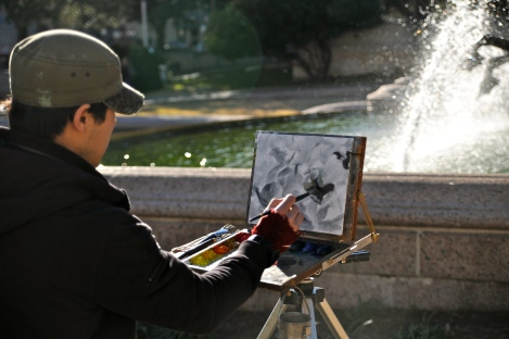JLW painting Littlefield Fountain